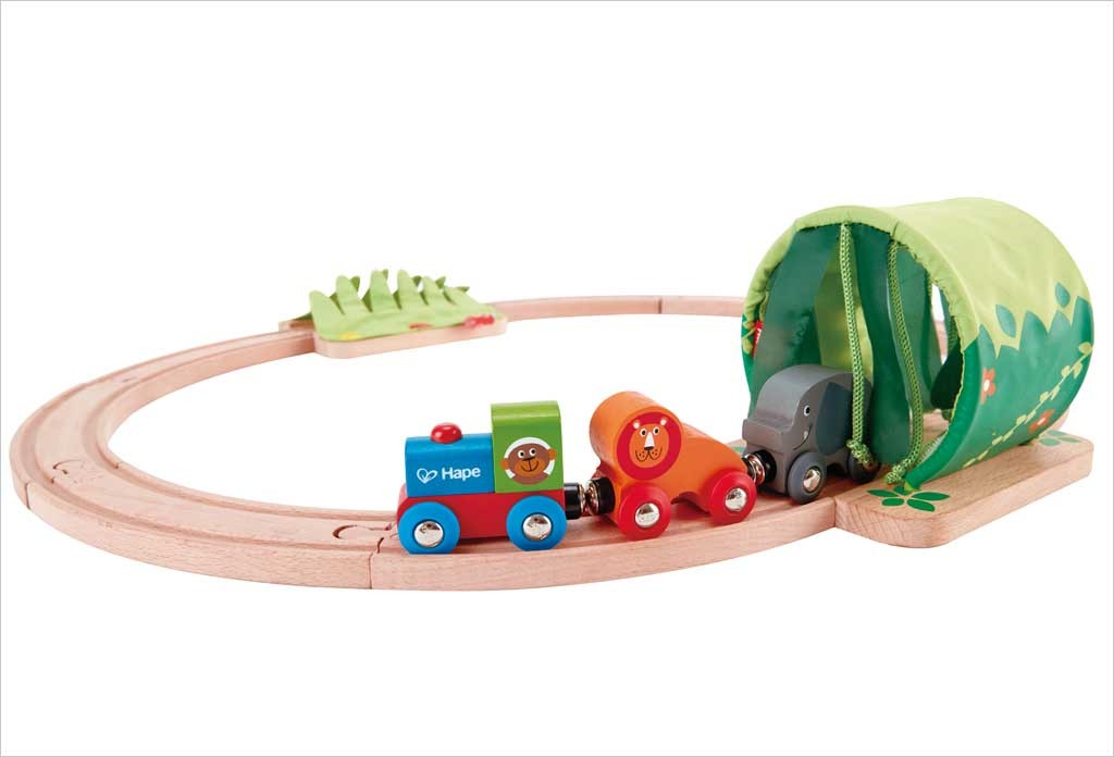 Circuit de train en bois Hape Jungle