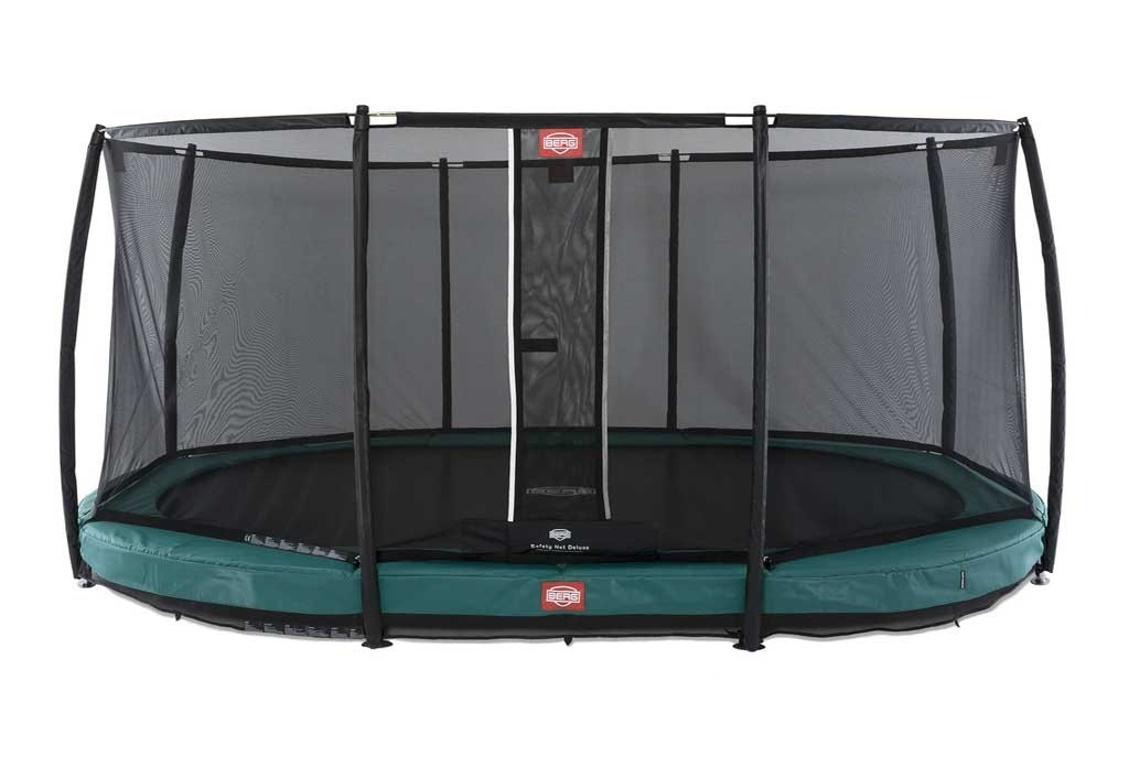 Trampoline oval vert enterré 470 Champion + filet - BERG