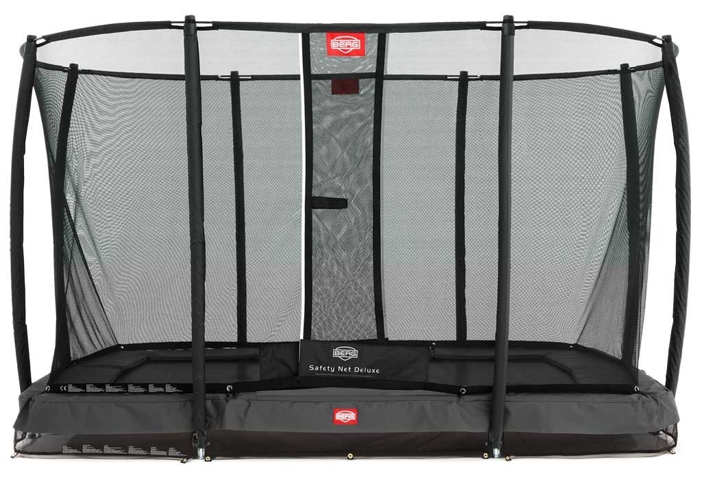 Trampoline rectangle gris enterré 330 Champion + filet - BERG