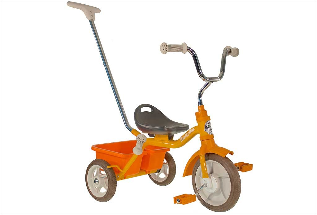 Tricycle orange avec canne et benne - Italtrike