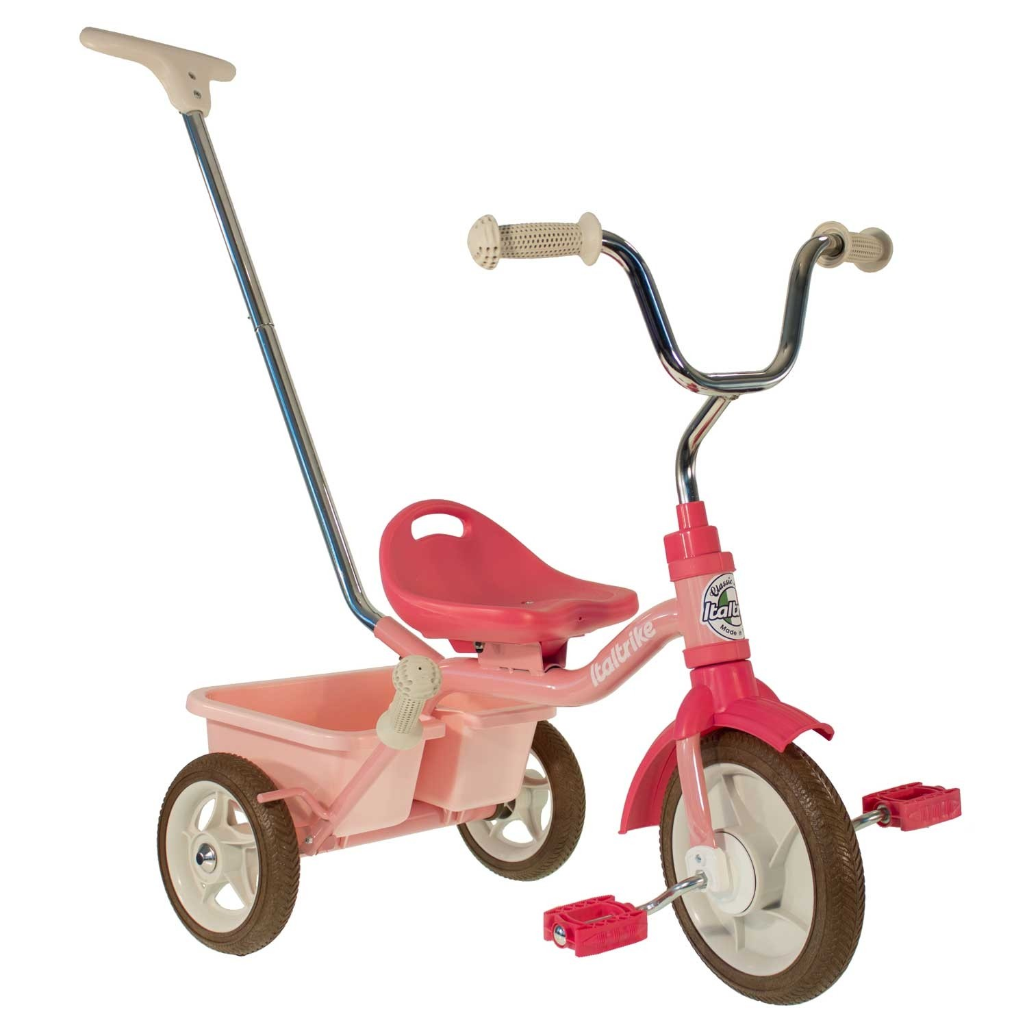 Tricycle Passenger Italtrike rose avec canne et benne
