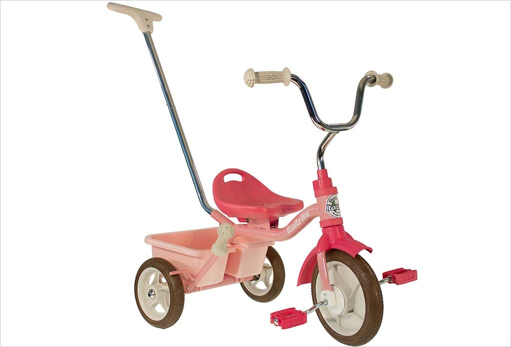 Tricycle rose avec canne et benne