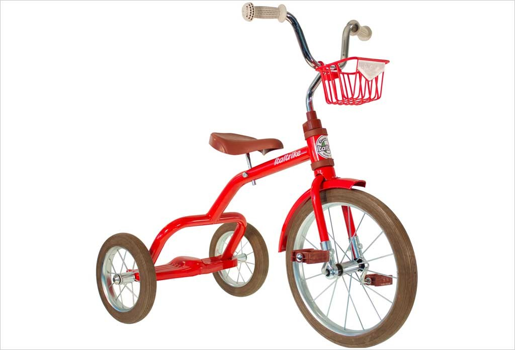Grand tricycle vintage métal rouge