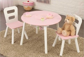 Table enfant ronde rose + 2 chaises