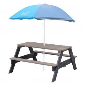 Table Picnic Nick Anthracite gris avec parasol Axi