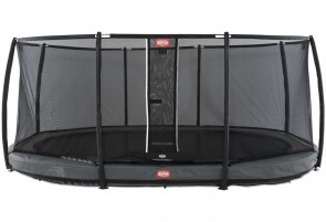 Trampoline oval gris enterré 520 Champion + filet