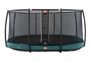 Trampoline oval vert enterré 470 Champion + filet