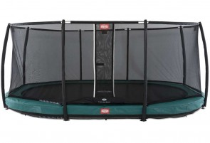 Trampoline oval vert enterré 520 Champion + filet