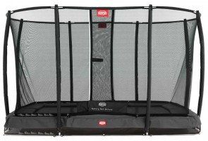 Trampoline rectangle gris enterré 330 Champion + filet