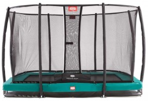 Trampoline rectangle vert enterré 330 Champion + filet