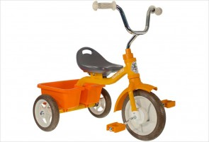 Tricycle métal orange avec benne Italtrike